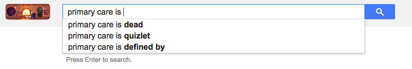 A Screenshot of Google Suggestions for Primary care.